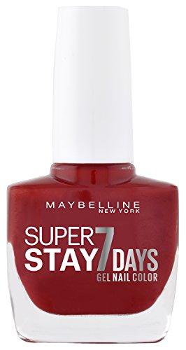 Maybelline New York Make-Up Super Stay Nailpolish Forever Strong 7 Days Finish Gel Nagellack Cherry Sin / Farblack mit ultra starkem Halt ohne UV Lampe in knalligem Rot, 1 x 10 ml