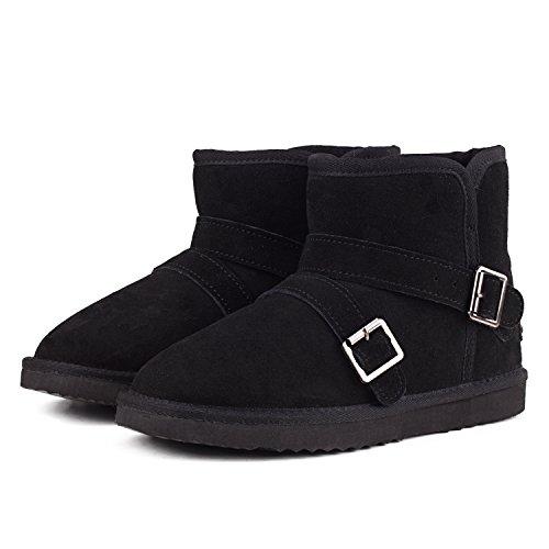 Shenduo - Chaussures fourrées de cuir pour homme, Bottes de neige & Boots d'hiver classique doublure chaude DAC041 Noir