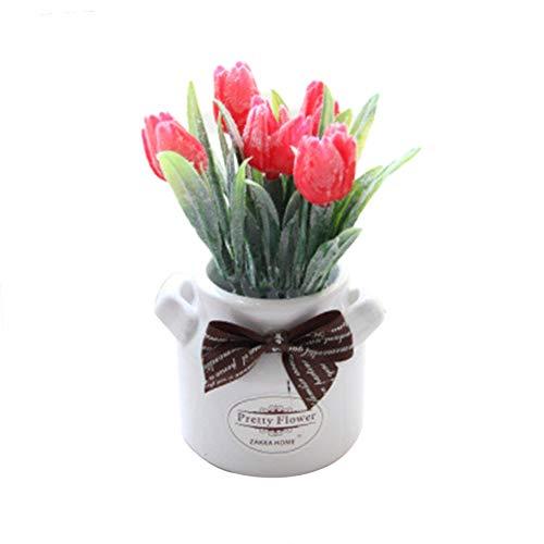 qiwounve 1 Stück Topf Künstliche Blume Tulip Bowtie Bonsai Garten Hochzeit Home Party Decor 5 Farben Rosa Rosa Bowties