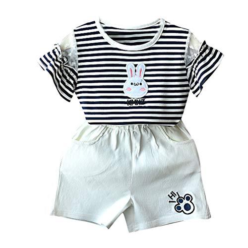 t+Shorts Kurze Hosen Cartoon Bunny Streifen Tops Baby Kinder Kleinkind Outfits Set Kleidung Set Drucken Baby Kleidung Camouflage Kühlen Disney Grün Blau (100, Schwarz) ()