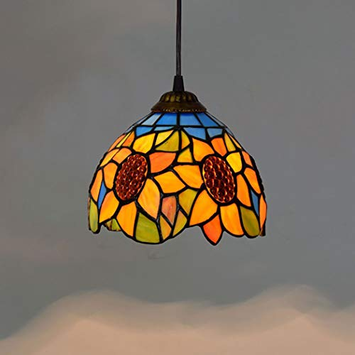 8 zoll tiffany stil sonne blume pendelleuchte vintage art glas decke anhänger leuchte für schlafzimmer wohnzimmer studie bar, e27