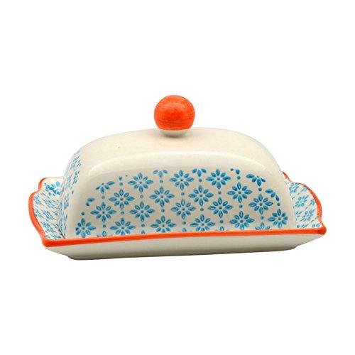 Butterdose mit Deckel - gemustert - 185 mm - Blauer/orangefarbener Print (Butterdose Mit Deckel)