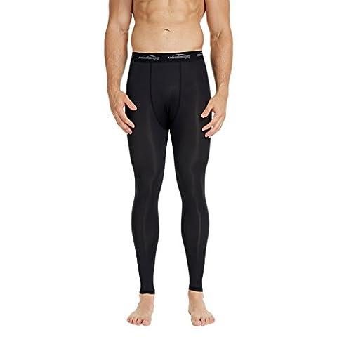 COOLOMG Kompressionshose Laufhose Länge Hosen Leggings Schnell Trocken Für Männer Jugendjunge Schwarz