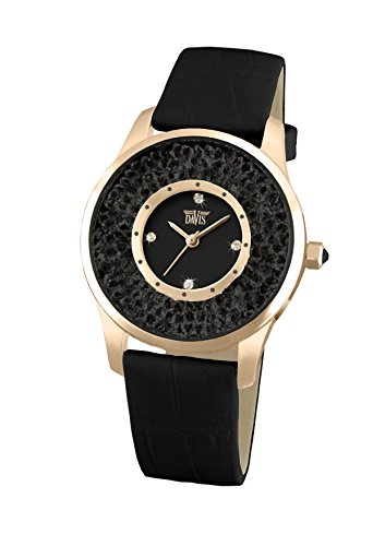 Davis 1787B - Womens Crystal Watch Rose Gold Case Black Swarovski Rhinestone Strass Black Dial Black Leather Strap