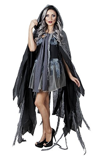 Schwarz-grauer Vampir-Umhang mit Kapuze für Erwachsene Halloween-Kostüm Hexe Mantel Cape (Hexe Cape Kostüm Mit)