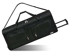 noorsk XXL Reisetasche mit Trolleyfunktion - 100 oder 140 Liter - mit 3 Rollen und 3 Verstärkungsstreben Schwarz 100 Liter