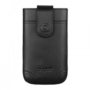 bugatti Dublin Echtledertasche für Apple iPhone 4 / 4S, Samsung Galaxy SIII mini, uvm. - Schwarz [Größe: M | Handarbeit | Einfache Entnahme | Magnetverschluss] - 08299