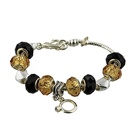 Sophia Glass & Chrome Charm Bracelet Black & Gold - 20cm Total Length