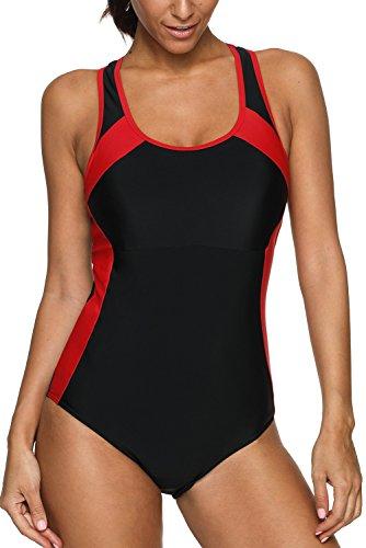 CharmLeaks Damen Einteiler Sport Badeanzug - Trainingsanzug - Figuroptimizer Essence Sportbadeanzug Schwarz XL