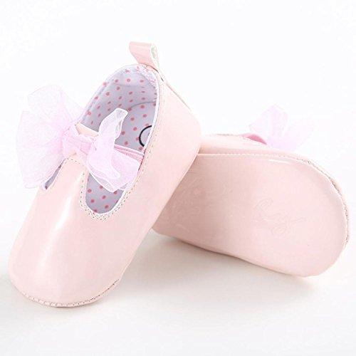 Hunpta Baby Mädchen Bogen-Knoten künstliche PU Schuhe rutschfest weiche Sohle Schuhe Rosa