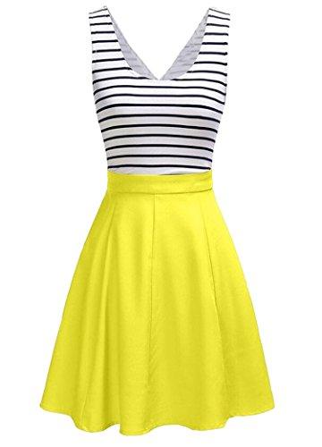 U8Vision Damen V-Ausschnitt Rückenfrei Gestreiftes Strickkleid Rock Kleider Casual Kleider Gelb Gr.S (Rock Gestreiften Anzug)