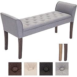 CLP Banqueta CLEOPATRA, estructura de madera, con brazos, tapizado de tela, longitud de 133 cm (aprox.) Color madera: oscuro, Color tapizado: gris claro