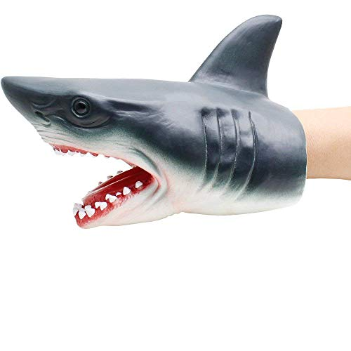 Webby Shark Hand Puppet for Toddlers,Soft Rubber Realistic Shark Toys for Kids