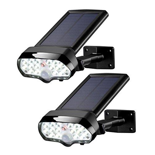 Hoch, Licht Im Freien (Sunix 2 Stück Solar Lichter IP65 Wasserdicht LED Solarleuchten, Solar Wandleuchte Außen, im Freien Bewegungssensor Licht, helle Sicherheitsleuchten - 16 + 1 rot LEDs für Patio, Deck, Hof, Garten)