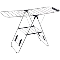 SONGMICS Winged Folding Clothes Airer, 16 Metre Drying Space, Laundry Drying Rack, Multifunctional Air Dryer, Stainless Steel Tubes Silver LLR502