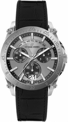 Pierre Petit Le Mans P-792A - Reloj cronógrafo de cuarzo para hombre, correa de cuero color negro