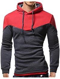 ♚Sudadera con Capucha para Hombre Personalidad, Otoño Invierno Patchwork Manga Larga Outwear Top Blusa