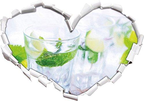 Mojito-Gläser mit Minze Kunst Buntstift Effekt Herzform im 3D-Look , Wand- oder Türaufkleber...