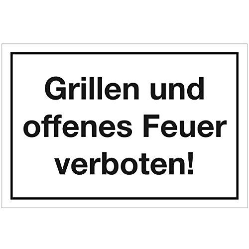 Wandkings Hinweisschild - Grillen und offenes Feuer verboten! - stabile Aluminium Verbundplatte - Wähle eine Größe - 20x15 cm