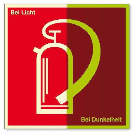 Brandschutzzeichen - Feuerlöscher - Kunststoff, langnachleuchtend - 10 x 10 cm