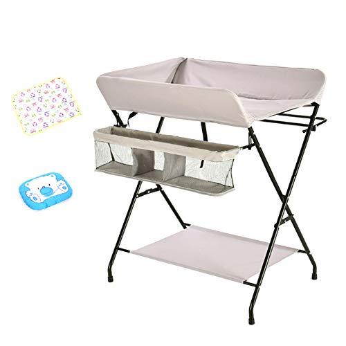 Table à Langer pour Le Stockage Et Le Bain Pliable pour Bébé, Commode Portative (Couleur : Silver)