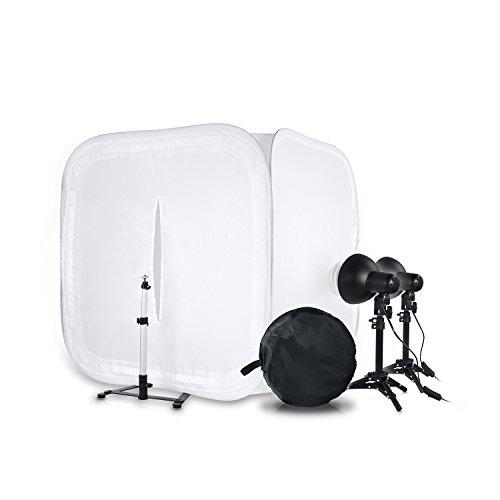 Großes HAUSER & PICARD 400 Watt Tisch-Foto-Studio 1x 80 cm Licht-Würfel 2X Foto-ESL + 2X Tisch-Foto-Stativ   Foto-Licht/Foto-Beleuchtung/Licht-Zelt/Licht-Würfel