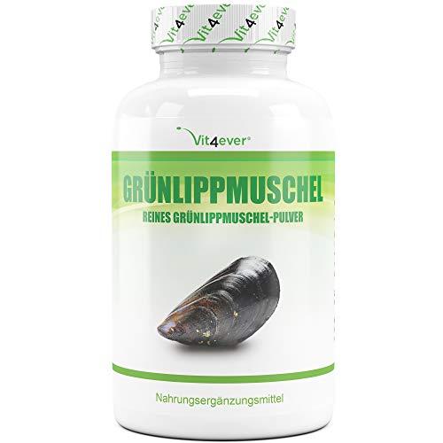 Vit4ever® Grünlippmuschel 320 Kapseln mit jeweils 600 mg - 1800 mg pro Tagesdosierung - Laborgeprüfte Reinheit - Hochdosiert - 100% Grünlippmuschelpulver aus Neuseeland ohne Zusätze - Premium Qualität