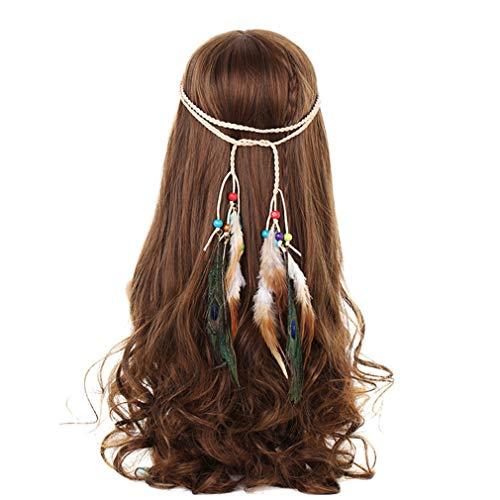 Stirnbänder für Frauen indische Federn Stirnband Mode Boho Mädchen Festival Perlen Gypsy Feder Haarschmuck DB06120 Gypsy Thread