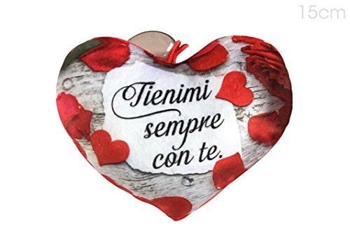 Ventosino a forma di cuore in peluche di 15cm con dedica - tienimi sempre con te - ideale per san valentino e come regalo romantico per lui e per lei per tutto l'anno.