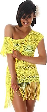 Damen Kleid Fransen Strandkleid Top Shirt Longshirt Carmen-Ausschnitt Kurzarm Häkel Muster Partykleid Transparent Gelb 36/38