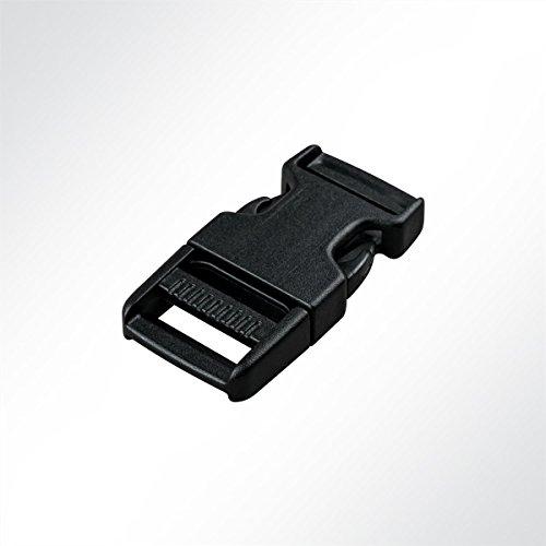 LYSEL Kunststoff Klickschnalle/Verschlussschnalle schwarz, (BxL) 20x55mm in Schwarz (10 Stück)