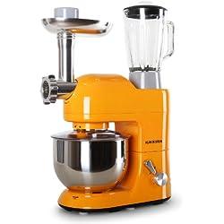 Klarstein Lucia Orangina Robot da Cucina Multifunzione Mixer impastatrice planetaria (1200 Watt, 5,2 litri, 6 velocitá, acciaio inox) - arancione