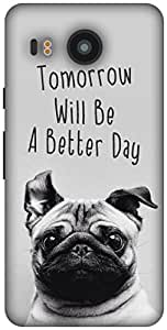 The Racoon Grip printed designer hard back mobile phone case cover for LG Nexus 5X. (happy pug)
