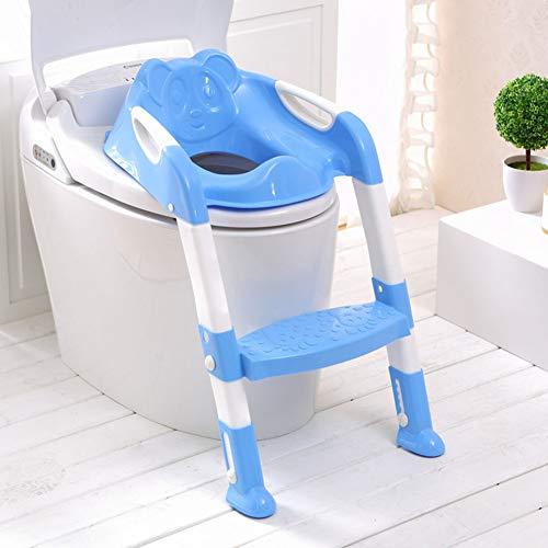 LWYJ Töpfchen-Toiletten-Trainingssitz-Stuhl-Baby-Kleinkind-Kinder-Toiletten-Trainer Töpfchen-Stuhl-Trainer mit Trittleiter,Blue (Töpfchen Stuhl Auf Toilette)