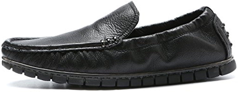 Nuevos Hombres Casual Bean Shoes Zapatos Color sólido Moda Remaches Marea Marea Lazy XIAQOI (Color : Negro, tamaño...
