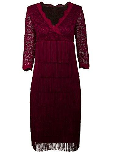 Vijiv Damen Cocktail Kleid, Paisley Gr. XXL, weinrot