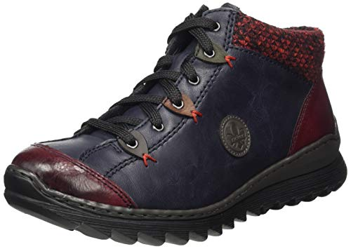 Rieker Damen M62A4 Hohe Sneaker, Blau (Wine/Navy/Graphit/Brandy/Forest/Rot-Schwarz 37), 41 EU