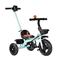 CYSHAKE Kids Tricycle Learning Trike Foldable 2 In 1 Boys Girls Toddler Trike 3 Wheel with Push Handle Foam Wheels for Kids Age 2-6