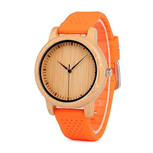 Frauen Uhren Damen Bambus Holz Uhren Silikon Riemen De Lujo GroßE Geschenke FüR MäDchen B05Yellow