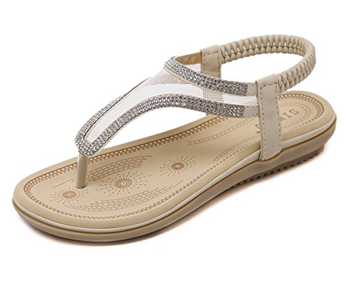 Tomsent Damen Sommer Bohemia Flache Sandalen Netzgarn Strass Strandschuhe Mädchen Zehentrenner Peep Toe Shoes Sandalen Flip Flop Aprikose EU 38 (Jeans Strass-kinder)