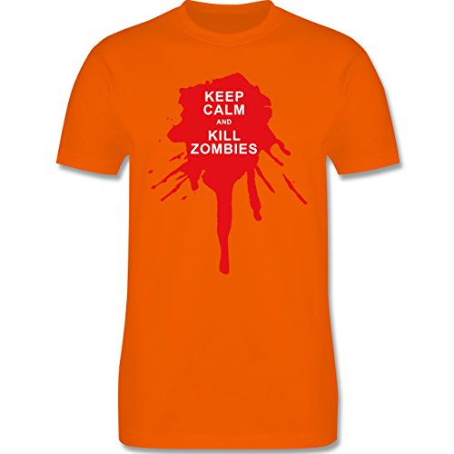Keep calm - Keep calm and kill Zombies - Herren Premium T-Shirt Orange