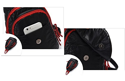 Wewod femmina unico pratico zaino alla moda Casual Borsa a tracolla Red with black 2
