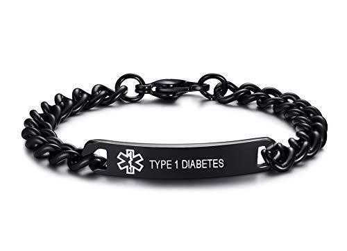 XUANPAI Edelstahl Hochglanzpolierte Personalisierte Medic ID Identifikation Gravierte TYP 1 Diabetes Link Armbänder Schwarz Für Männer Frauen, 20,5 cm (Typ-1-diabetes-schmuck)