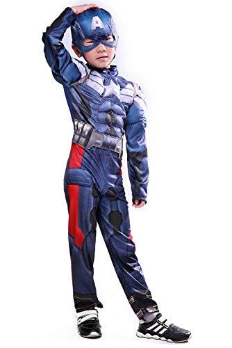 MingoTor Kinder Jungen Superheld Outfit mit Maske Cosplay Kostüm Blau 120