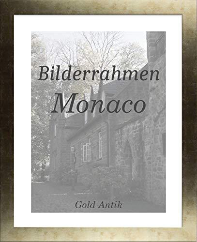 Homedeco-24 Monaco MDF Bilderrahmen ohne Rundungen 26 x 36 cm Größe wählbar 36 x 26 cm Gold Antik mit Acrylglas klar 1 mm