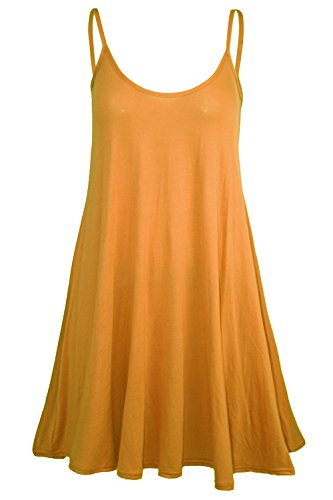 Pure Fashion Damen Ärmeloses Top Mehrfarbig Mustard - Thin Straps Spaghetti Top Party