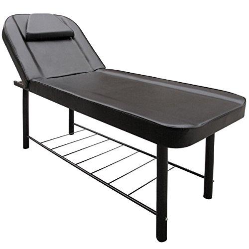 Behandlungsliege Verstellbare 2-Sektionen Massageliege Bis max. 250 KG belastbare Massagebank Kosmetikliege Dicke Polsterung Metallrahmen Schwarz Schwarz