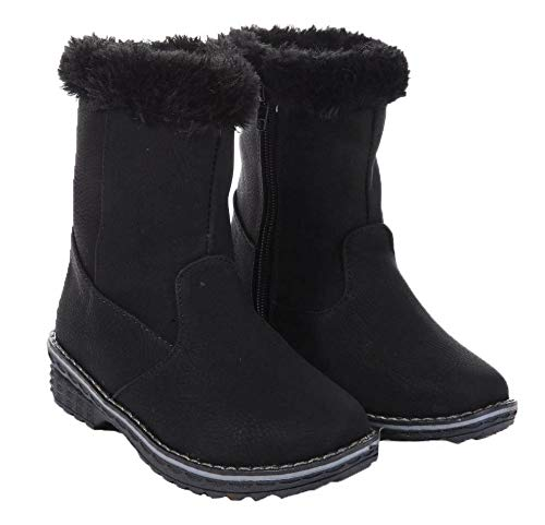 Kids Girls Boots Faux Fur Lined Flat Ankle Boots with Grip Sole & Zip Fastening Pink Black Beige Grey