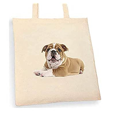 Bulldog Puppy Tote bag. Beige cotton bag, Cotton Tote Bag, Can be used as a bag for life shopping bag, handbag, fashion bag, school bag, beach bag, shoulder bag. - handmade-bags