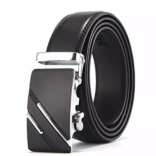 Satyam Kraft Men\'s Black Pu Leather Belt (42)